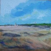 Katwijk aan Zee zicht op kerk 15 x 15 cm Acryl