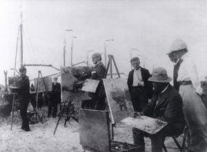 Kunstenaars in Katwijk. Links Derk Wiggers, midden Willy Sluiter, rechts Hendrik Jansen Schilderen aan Zee