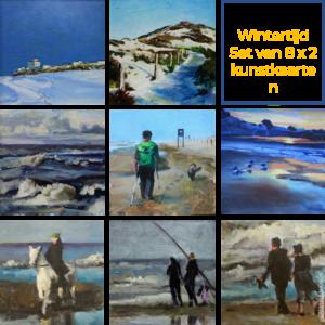 Wintertijd set kunstkaarten